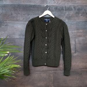 Vintage Ralph Lauren Wool Cardigan Forest Green
